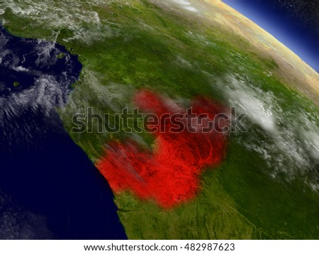 Congo highlighted in red as seen from Earth's orbit in space. 3D illustration with highly detailed planet surface. Elements of this image furnished by NASA.