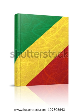 Congo Republic flag book. Mulberry paper on white background.