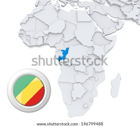 Congo with national flag - stock photo