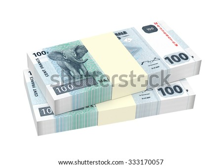 Congolese francs isolated on white background. Computer generated 3D photo rendering.