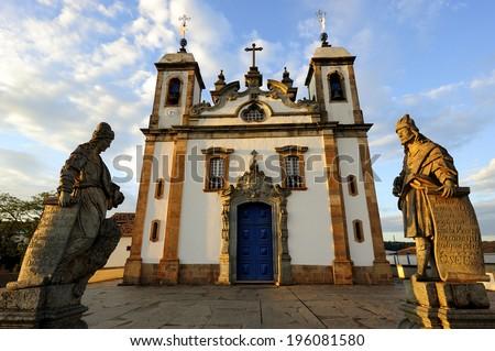 Congonhas - Minas Gerais, Brazil - March. 11. 2008: Sanctuary of Bom Jesus do Matosinhos with Prophets by Brazilian Sculptor, Aleijadinho, Congonhas, UNESCO World Heritage Site - stock photo