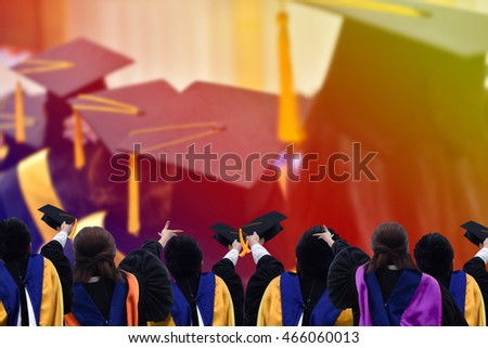 Congratulated the graduates in University,blurred background