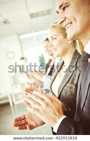 Congratulating with success - stock photo