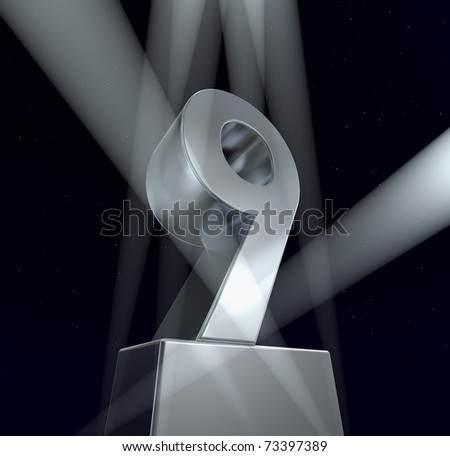 Congratulation nine Number nine in silver letters on a silver pedestal. 3d - stock photo