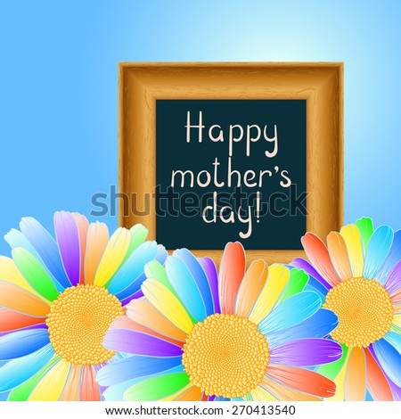 Congratulation on Mother's Day with rainbow daisies. Raster version. - stock photo