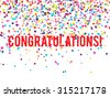 Congratulations background with falling confetti - stock vector
