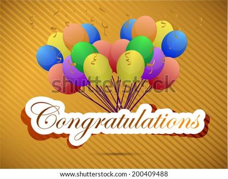 congratulations balloon card. illustration design over a gold background - stock photo