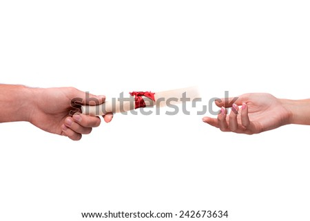 Congratulations! Cropped studio shot of rolled parchment passing between two hands isolated on white background - stock photo