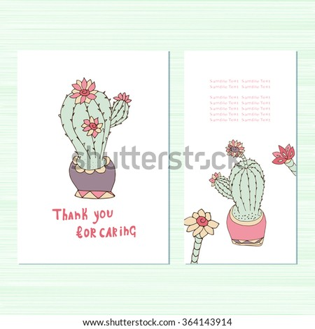 Congratulations, invitation for an anniversary, a wedding. Thanks. Set. Cactus. Template. Doodle, sketch - stock photo
