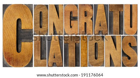 congratulations - isolated word abstract in vintage letterpress wood type - stock photo