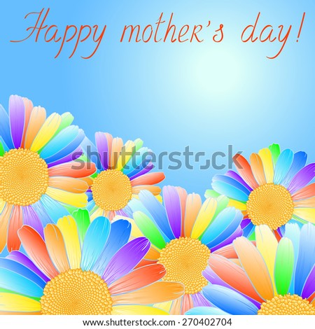 Congratulations on Mother's Day with rainbow daisies. Raster version. - stock photo