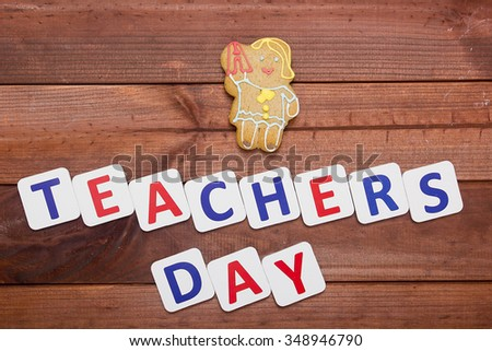 Congratulatory poster on the theme of Teacher's Day. - stock photo