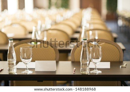 Congress room is ready for indoor business conference - stock photo
