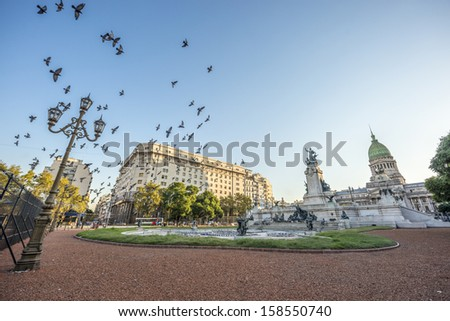 Congress Square downtown Buenos Aires, Argentina - stock photo