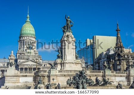 Congressional Plaza (Plaza Congreso), a public park facing the Argentine Congress in Buenos Aires, Argentina - stock photo