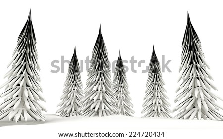 Conifer trees on winter country with snow  - stock photo