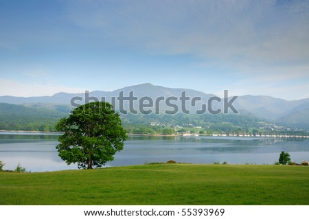 Coniston Water on a summer morning, English Lake District - stock photo