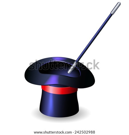 Conjurer hat and magic wand isolated on white background - stock photo
