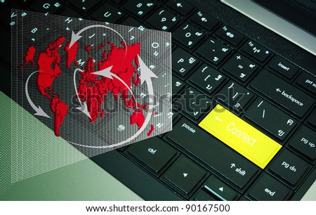 Connect button on keyboard with network diagram - stock photo