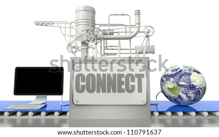 Connect concept with computer and earth globe