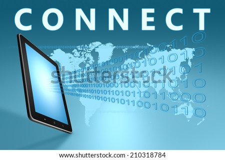 Connect illustration with tablet computer on blue background - stock photo