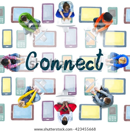 Connect Interact Communication Social Media Concept - stock photo