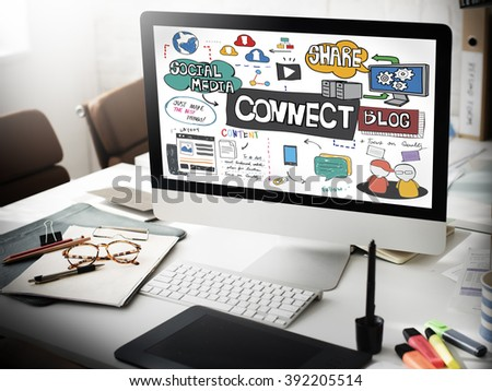 Connect Social Media Social Networking Online Concept - stock photo