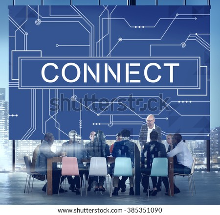 Connect Social Networking Contact Interconnection Technology Concept - stock photo