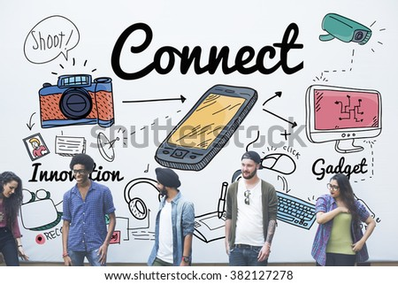 Connect Technology Social Media Innovation Concept - stock photo