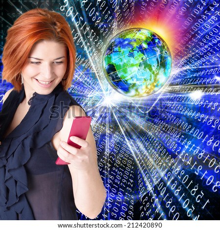 Connect Technology.Woman with phone - stock photo