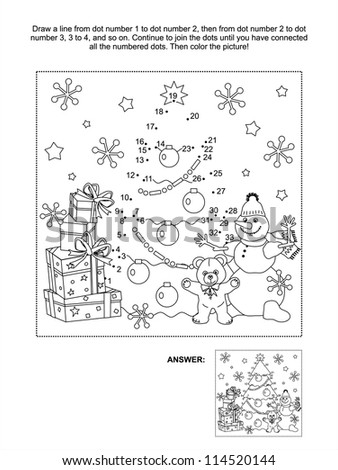 Connect the dots picture puzzle and coloring page, Christmas or New Year winter holiday themed, with gift boxes, christmas tree, snowman, teddy bear, snowflakes ( for vector EPS see image 114520147 ) - stock photo