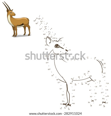 Connect the dots to draw the animal educational game for children gazelle raster version - stock photo