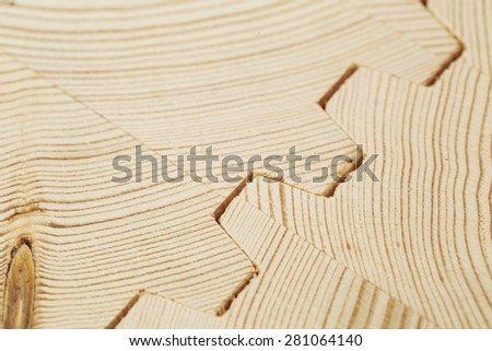 Connect wooden laminated veneer lumber when building a house - stock photo