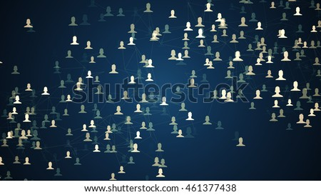connected avatars of men and women, illustration of network for communication, business relations, social media, technology, global village, community connections