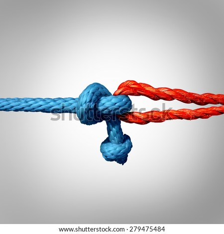 Connected concept as two different ropes tied and linked together as an unbreakable chain as a trust and faith metaphor for dependence and reliance on a trusted partner for support and strength. - stock photo