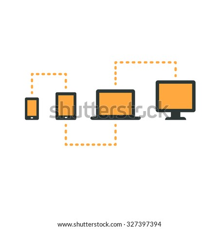 Connected electronic devices (smartphone, tablet, laptop and desktop computer), cross platform web content. - stock photo