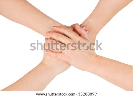 Connected hands isolated on white background