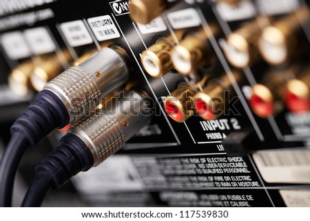 Connected hi-end audio cable - stock photo