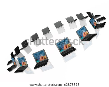 Connected laptops on white reflective background.
