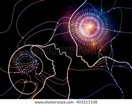 Connected Minds series. Abstract design made of human profiles, wires, shapes and abstract elements on the subject of mind, artificial intelligence, technology, science and design - stock photo