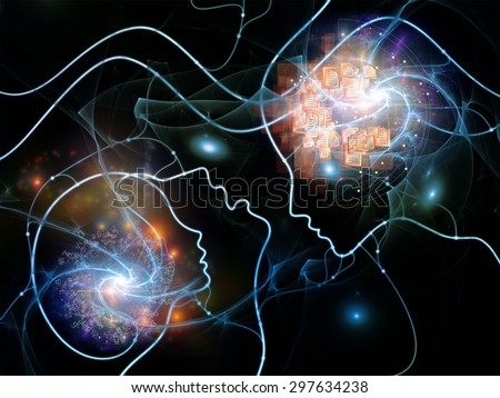 Connected Minds series. Composition of human profiles, wires, shapes and abstract elements on the subject of mind, artificial intelligence, technology, science and design - stock photo