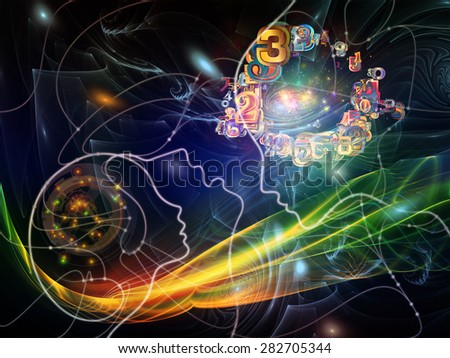 Connected Minds series. Composition of human profiles, wires, shapes and abstract elements suitable as a backdrop for the projects on mind, artificial intelligence, technology, science and design - stock photo