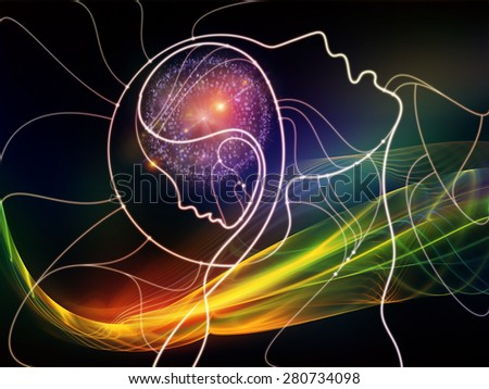 Connected Minds series. Interplay of human profiles, wires, shapes and abstract elements on the subject of mind, artificial intelligence, technology, science and design - stock photo