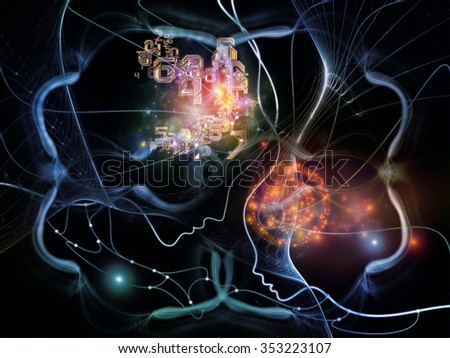 Connected Minds series. Interplay of human profiles, wires, shapes and abstract elements on the subject of mind, artificial intelligence, technology, science and design
