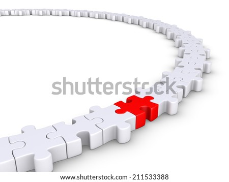 Connected puzzle pieces form a circle but one is of different color - stock photo