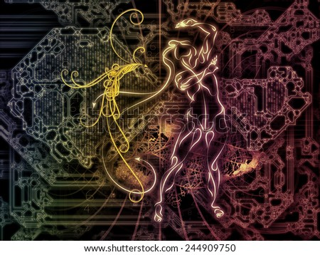 Connected Reality series. Abstract design made of human lines, numbers, lights on the subject of  metaphysics, religion, philosophy, science and modern technology - stock photo