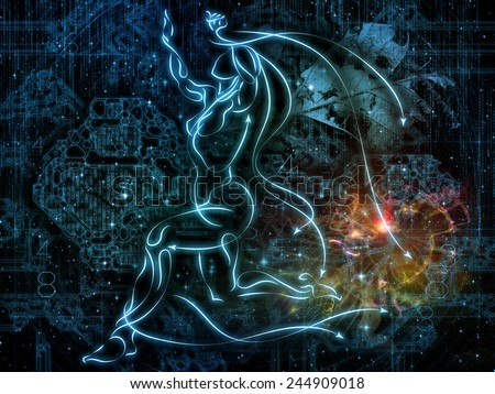 Connected Reality series. Arrangement of human lines, numbers, lights on the subject of  metaphysics, religion, philosophy, science and modern technology - stock photo
