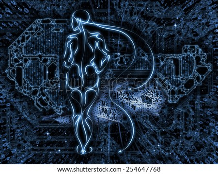 Connected Reality series. Backdrop composed of human lines, numbers, lights and suitable for use in the projects on  metaphysics, religion, philosophy, science and modern technology - stock photo
