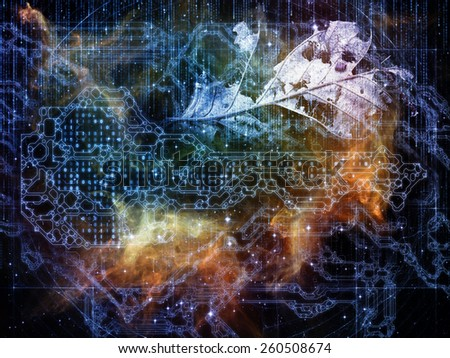 Connected Reality series. Backdrop of numbers, graphic elements, lights on the subject of  metaphysics, religion, philosophy, science and modern technology - stock photo