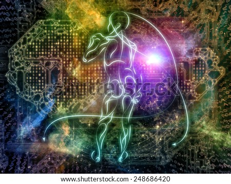 Connected Reality series. Creative arrangement of human lines, numbers, lights as a concept metaphor on subject of  metaphysics, religion, philosophy, science and modern technology - stock photo